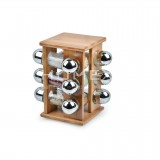 Homex Revolving Spice Rack with 12pcs Glass Jars
