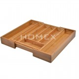 Homex Expandable Bamboo Flatware Tray