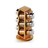 Homex Revolving Spice Rack with 6pcs Glass Jars