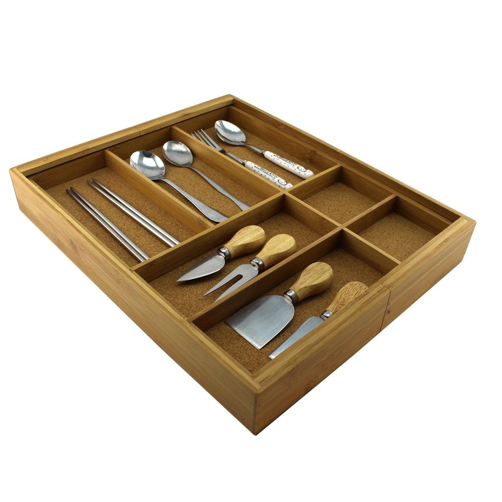 Homex Bamboo Cutlery Holder With Cork Wood Homex