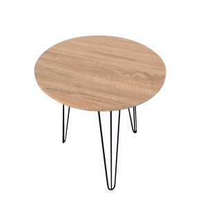 Wood Round Table with Metal Leg