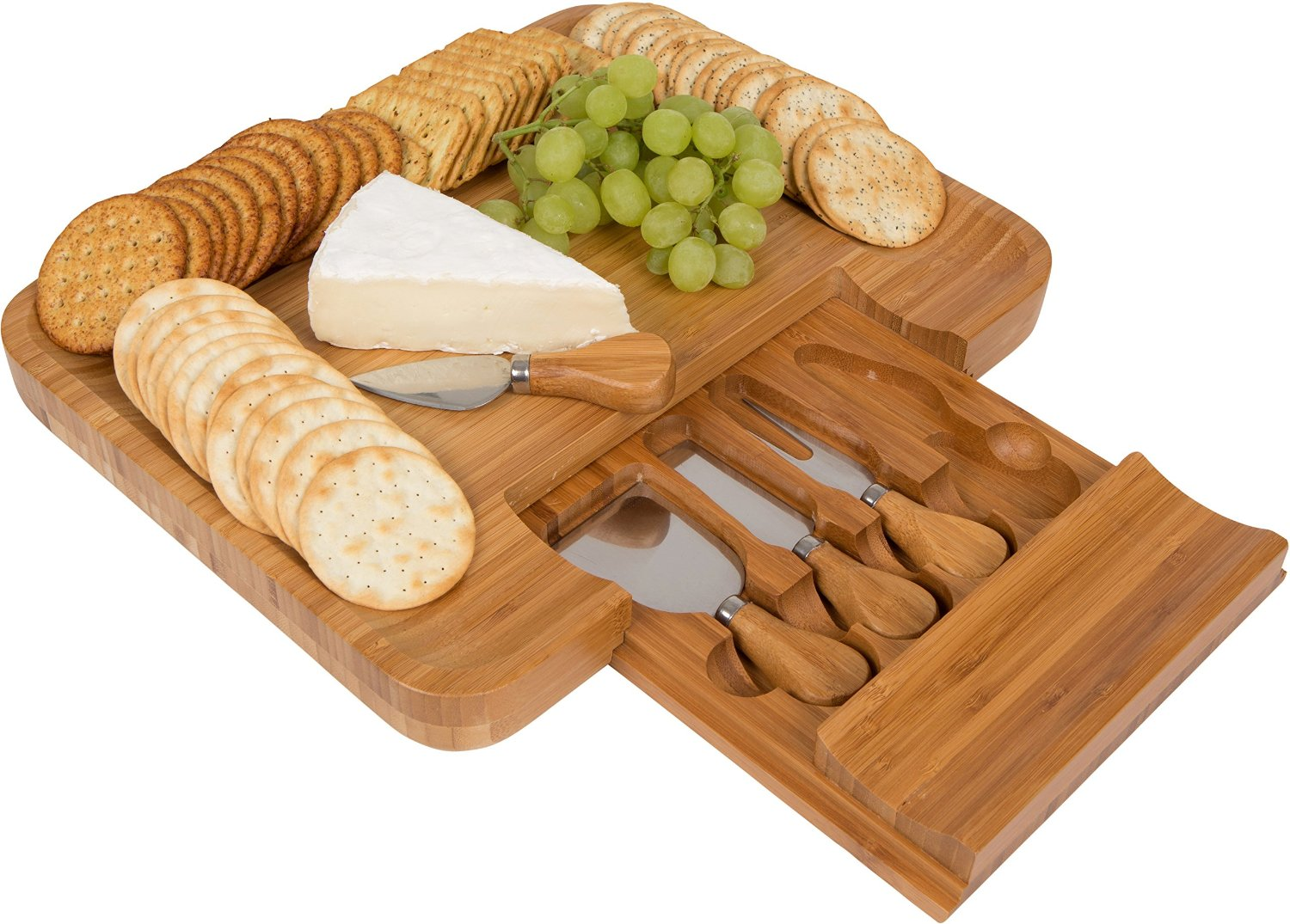 Smart Design Bamboo Cheese Board Set With Cheese Knives