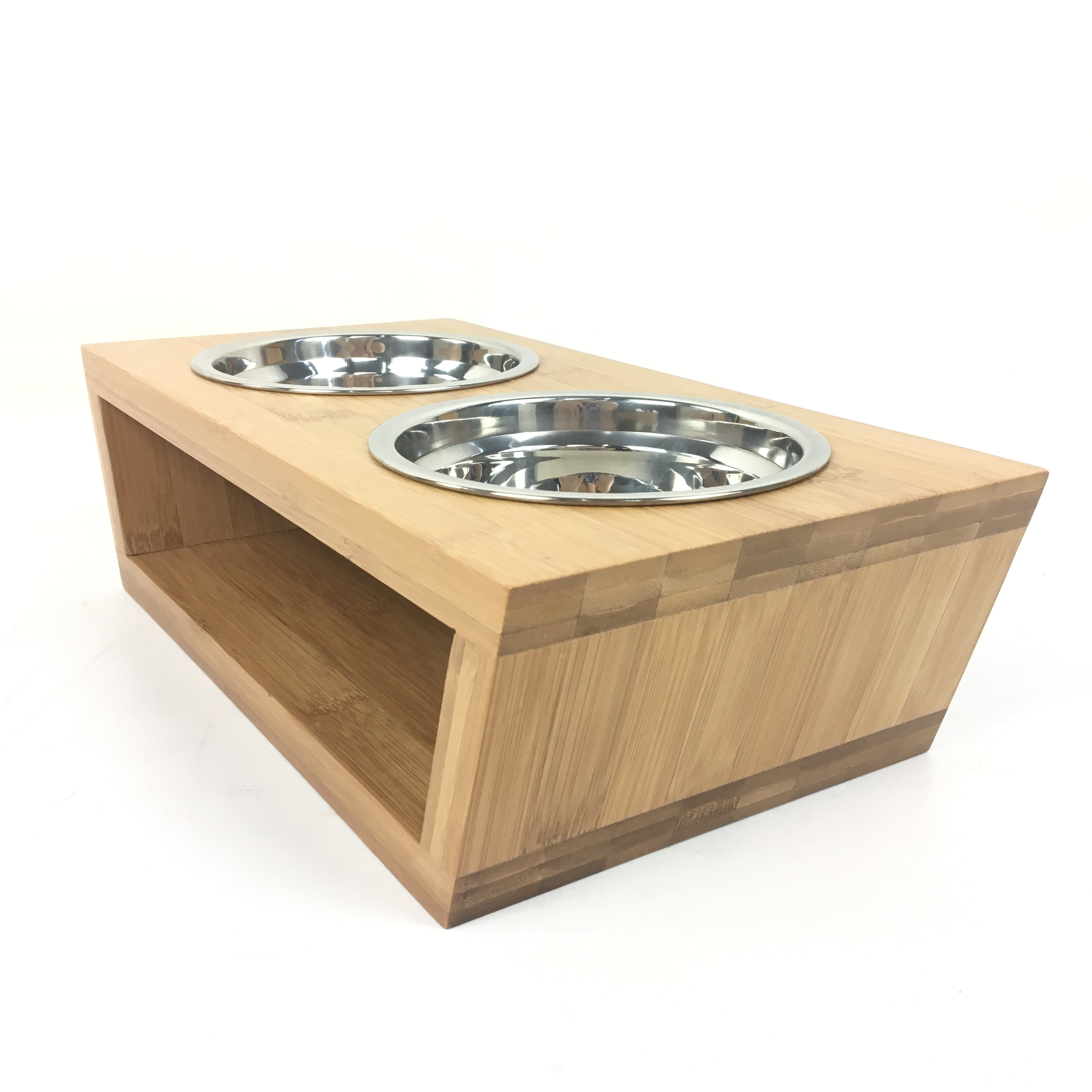 wooden holder bowl food or pet elevated dog cat rustic feeder wood pin small