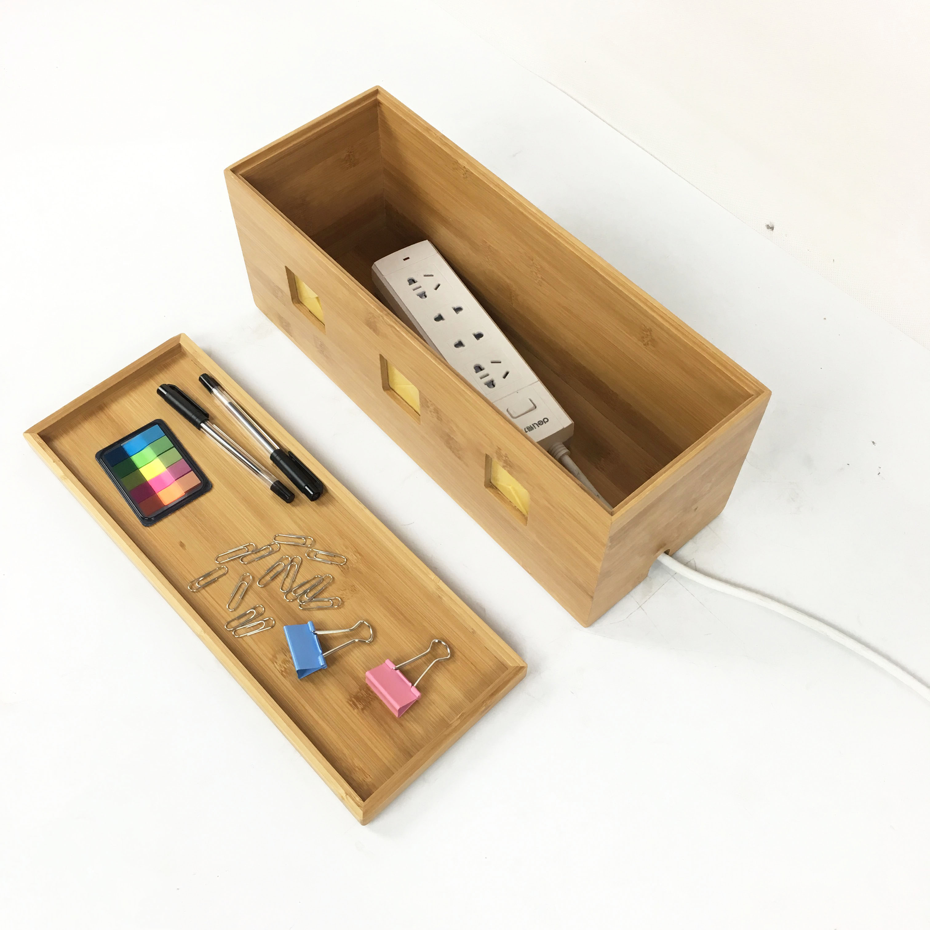 Bamboo Cable Management Box For Desk From Homex Homex